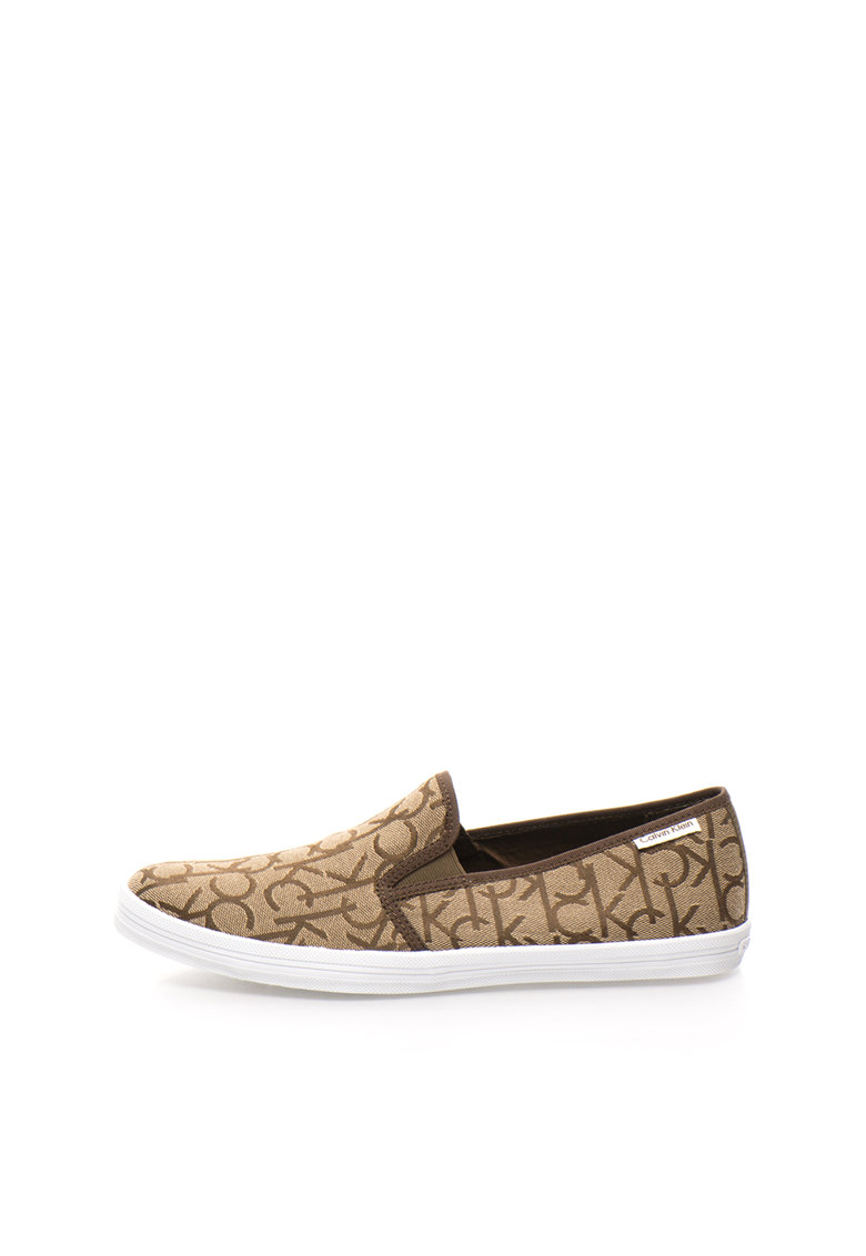 Pantofi slip-on kaki deschis cu model logo Oreste