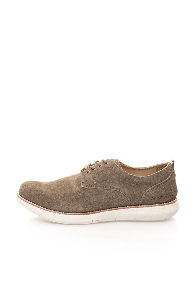 Calvin Klein Jeans Pantofi casual maro taupe din piele intoarsa Tab