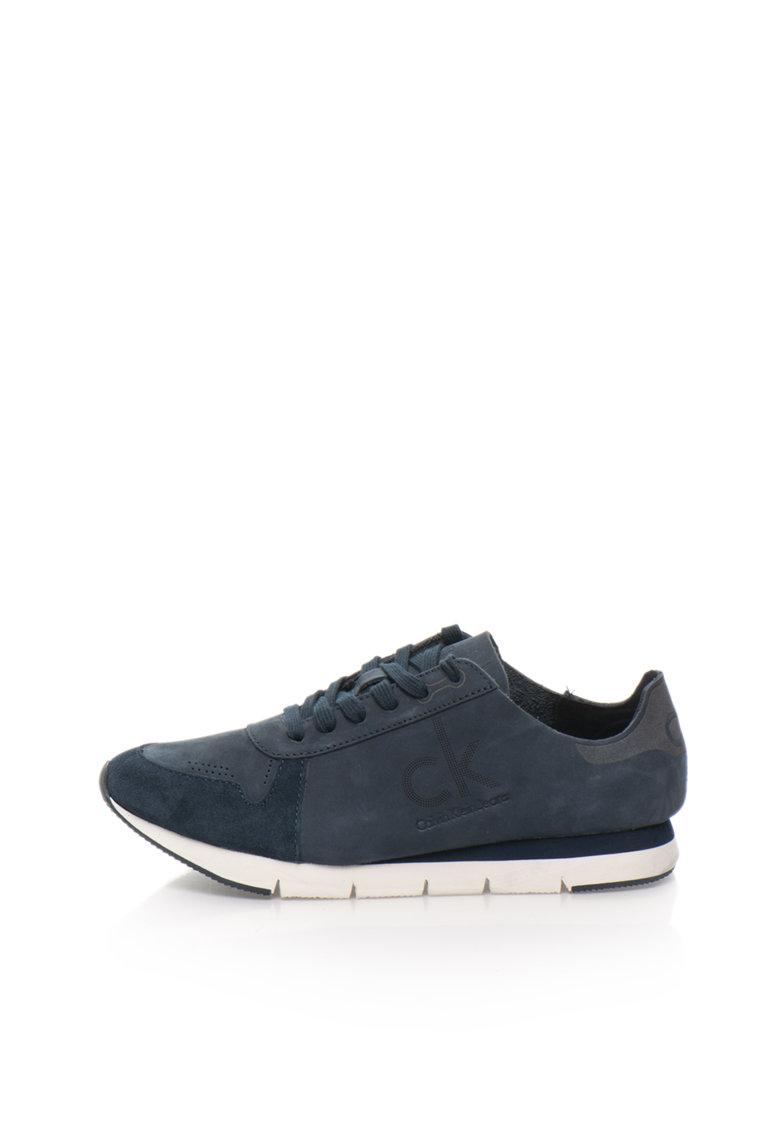 Calvin Klein Jeans Pantofi sport albastru petrol inchis de piele nabuc Hachi