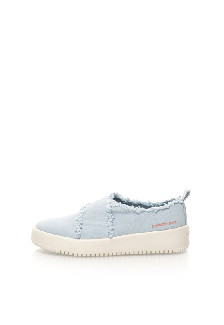 Calvin Klein Jeans Pantofi slip-on bleu de panza cu franjuri Dale