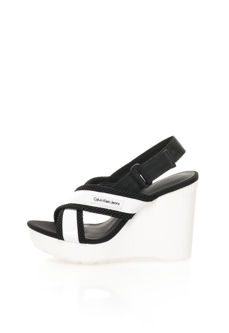 Calvin Klein Jeans Sandale wedge alb cu negru Lizzie