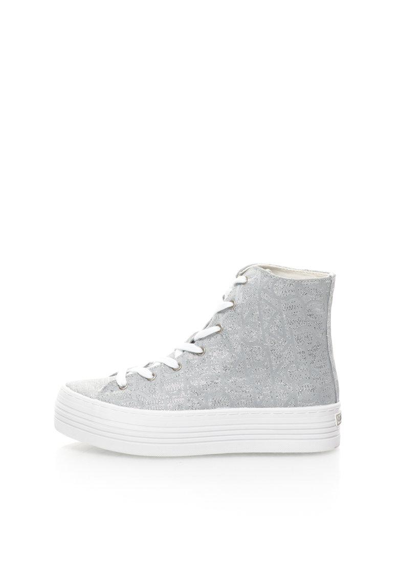 Calvin Klein Jeans Pantofi sport inalti flatform gri cu argintiu Zabrina