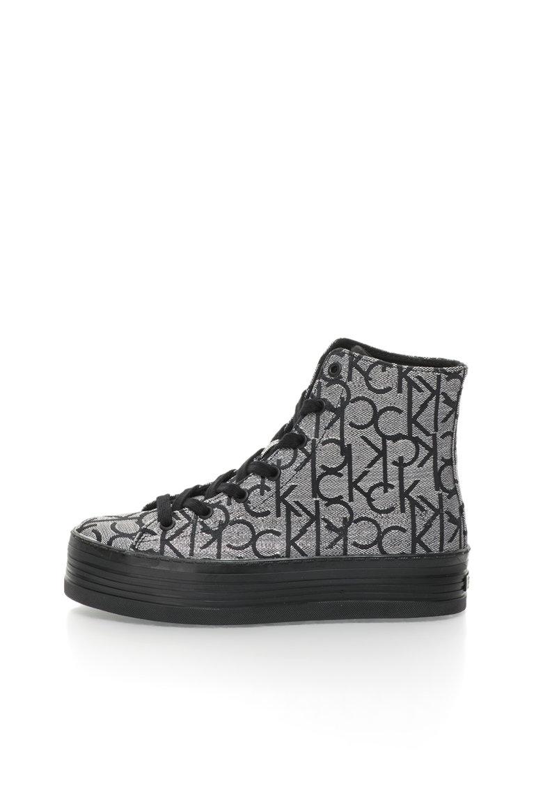 Calvin Klein Jeans Pantofi sport inalti flatform argintiu cu negru Zabrina