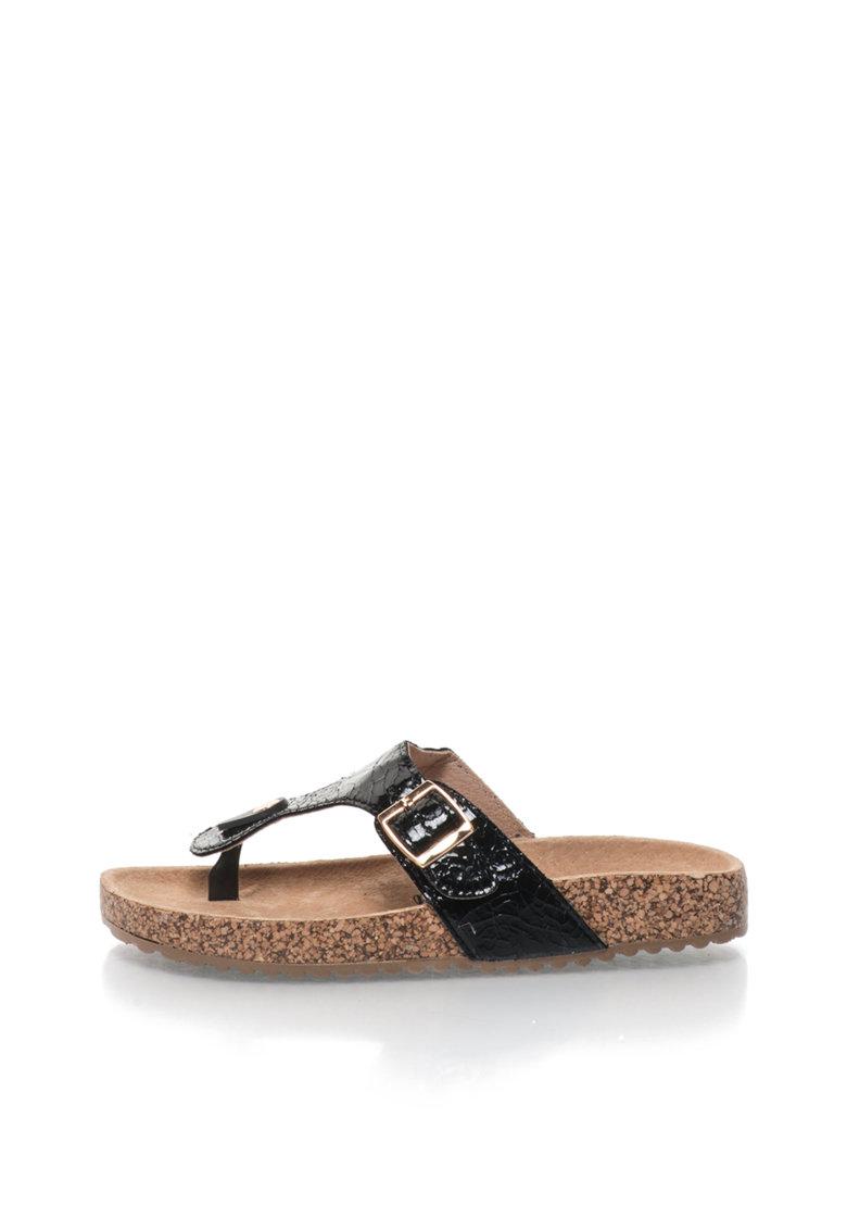 Papuci flip-flop negri cu brant ergonomic de la XTI