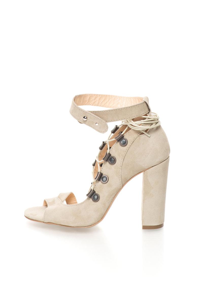 Sandale grej de piele nabuc cu siret de la Mihaela Glavan