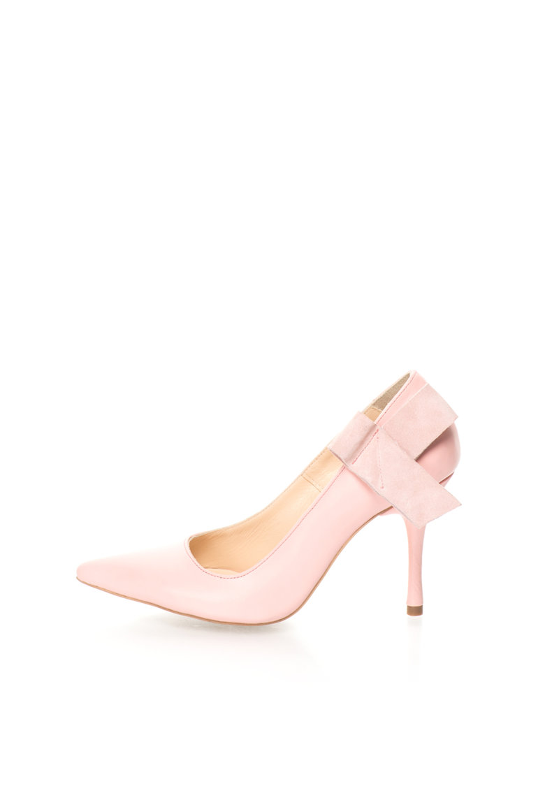 Mihaela Glavan Pantofi stiletto roz pal de piele cu funda deconstruita