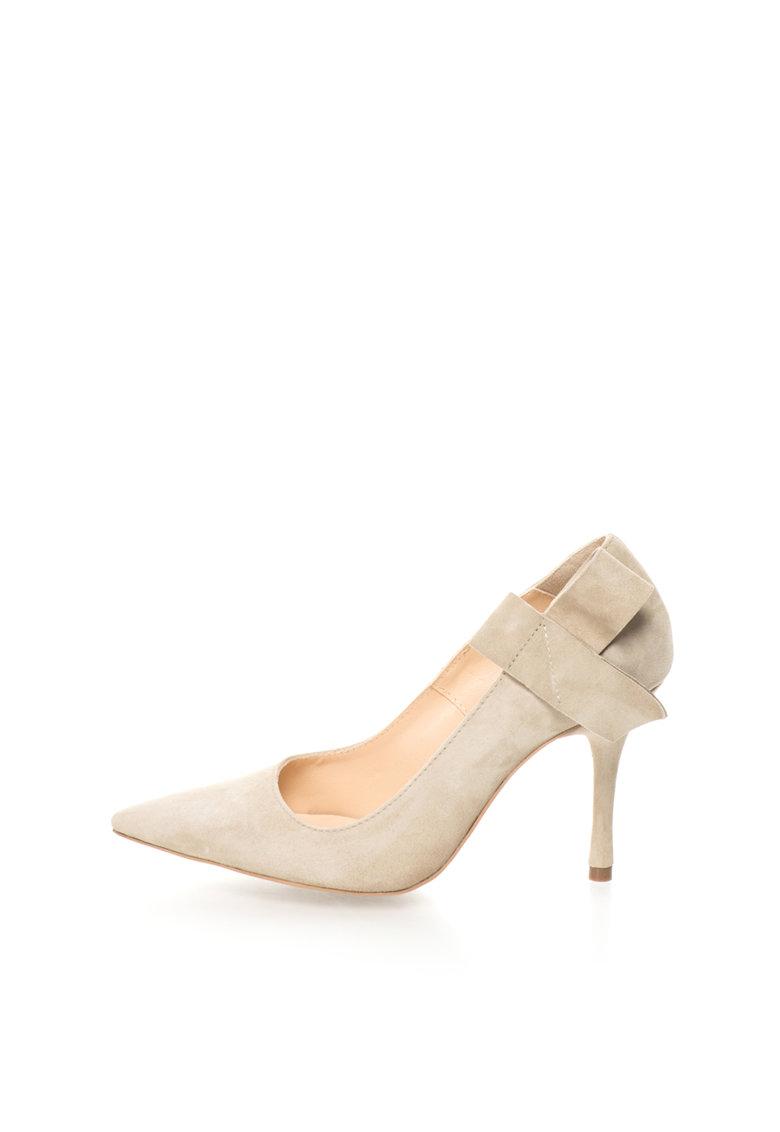 Mihaela Glavan Pantofi stiletto grej de piele intoarsa cu funda deconstruita