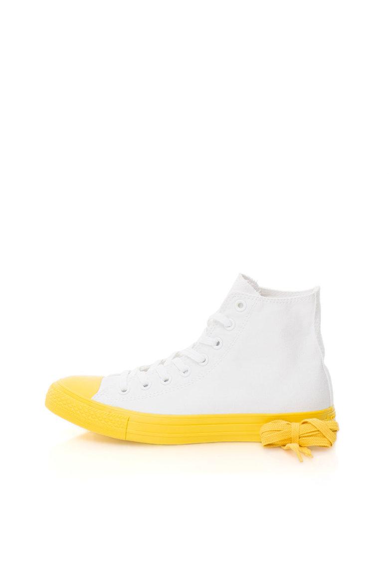 Pantofi sport inalti albi de panza