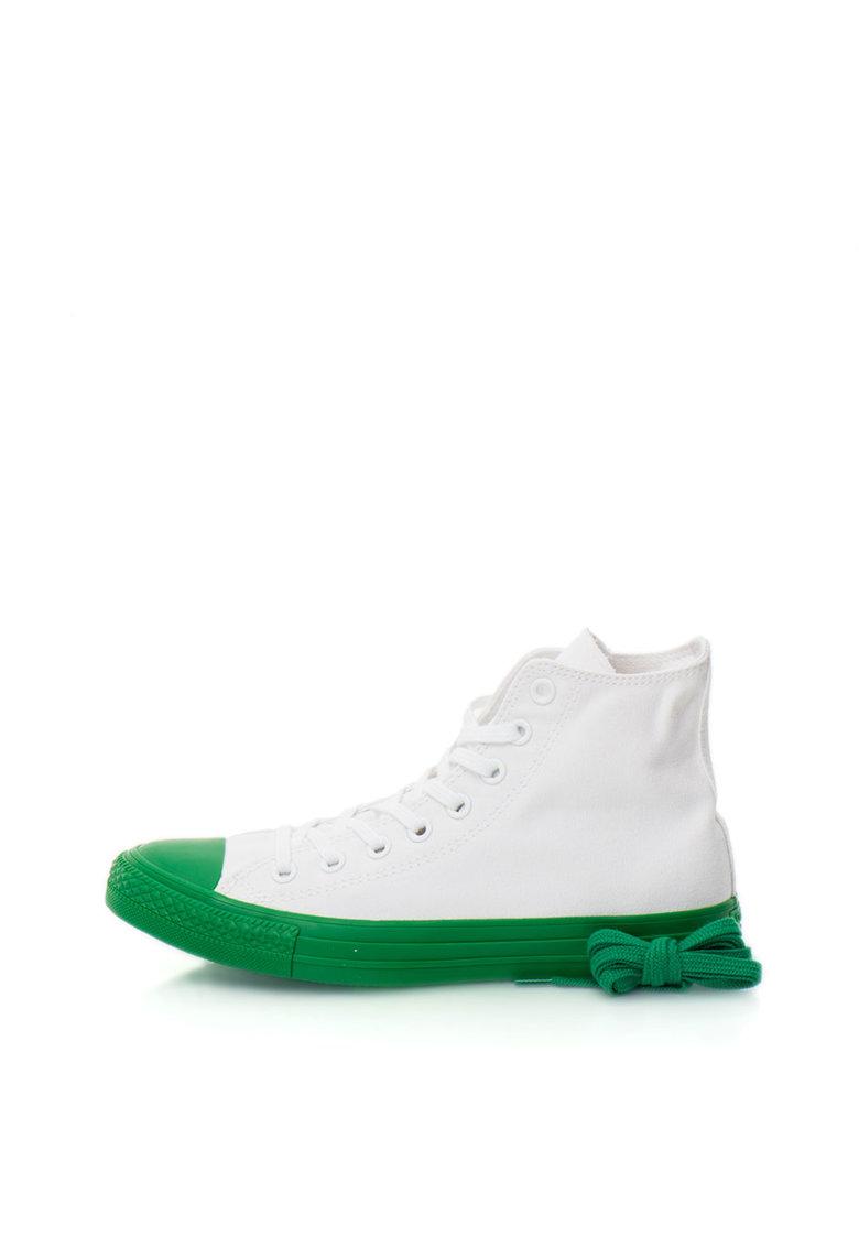 Tenisi inalti alb cu verde