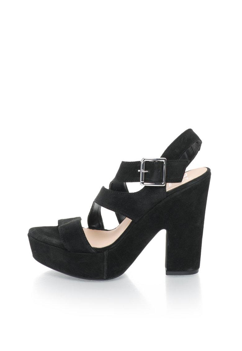 Versace 1969 Abbigliamento Sportivo Sandale negre de piele intoarsa cu platforma Olivia