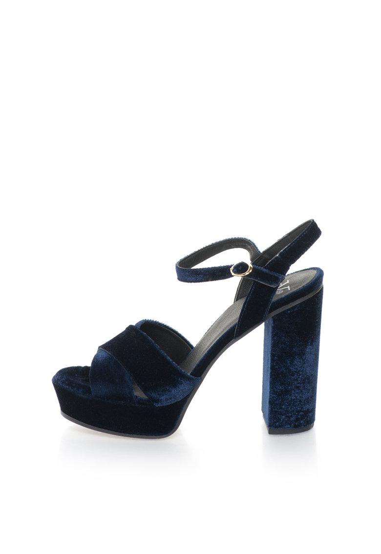 Versace 1969 Abbigliamento Sportivo Sandale bleumarin catifelate si cu platforma Lolie