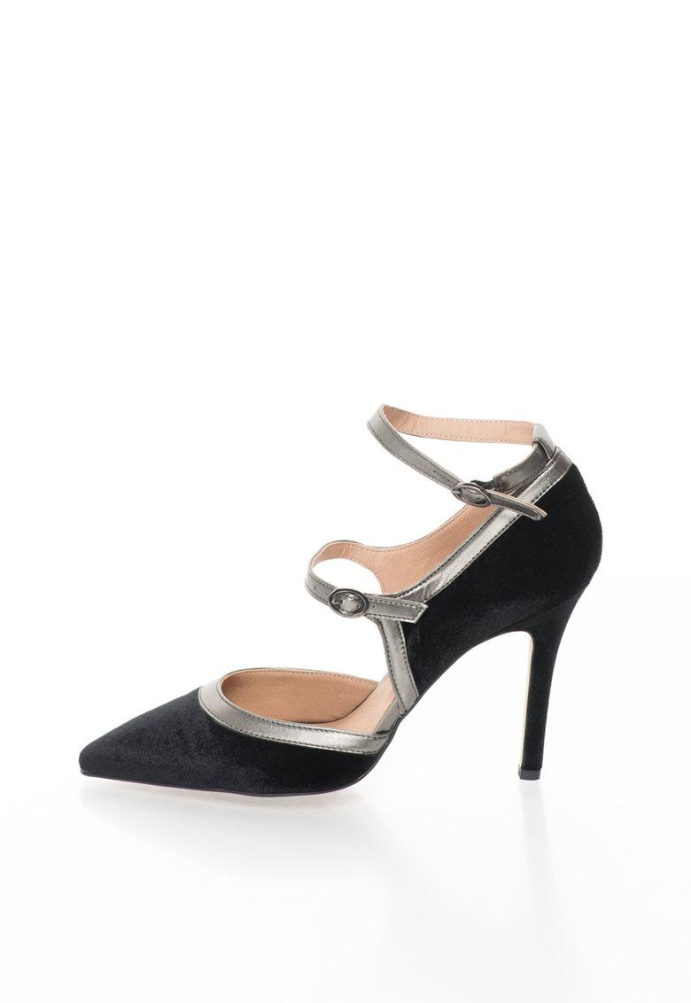 Versace 1969 Abbigliamento Sportivo Pantofi stiletto negri de catifea cu garnituri maro Genevieve