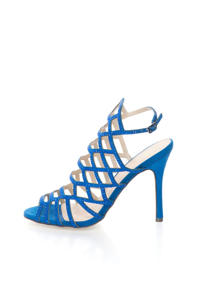 Sandale albastru safir cu barete multiple si strasuri Emilie