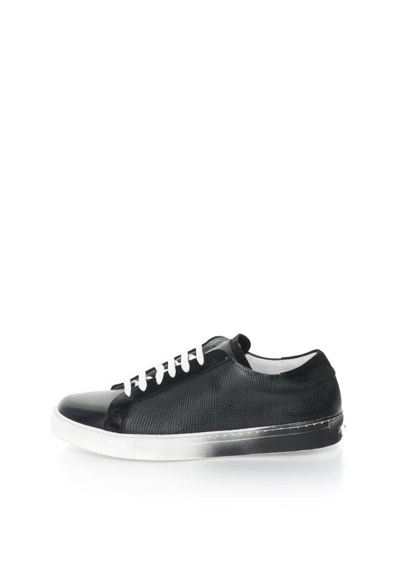 Versace 1969 Abbigliamento Sportivo Pantofi sport negri de piele si piele intoarsa Laurent