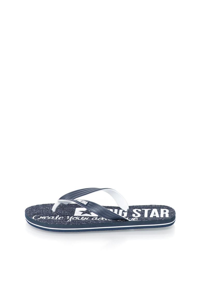 Big Star Papuci flip-flop bleumarin si alb cu logo