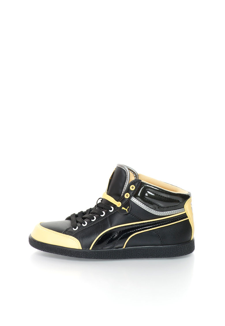 Pantofi sport mid-hi negru cu galben Ikaz de la Puma