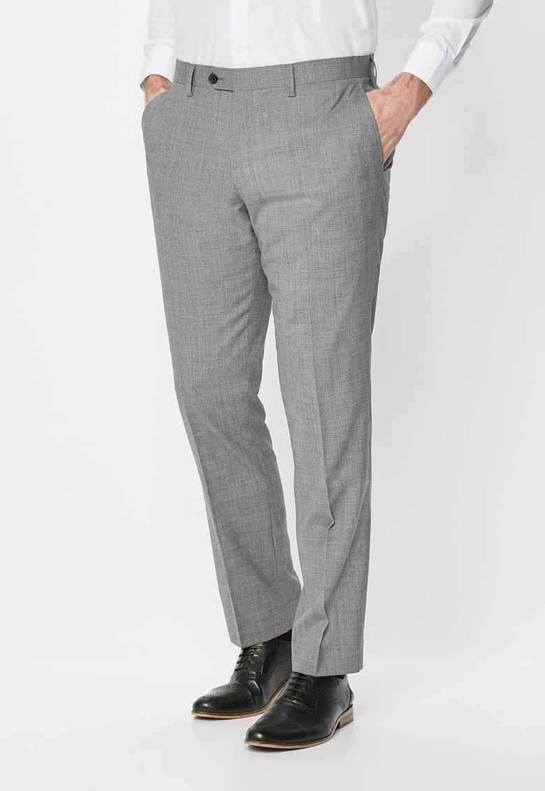 NEXT Pantaloni eleganti slim fit gri melange de lana