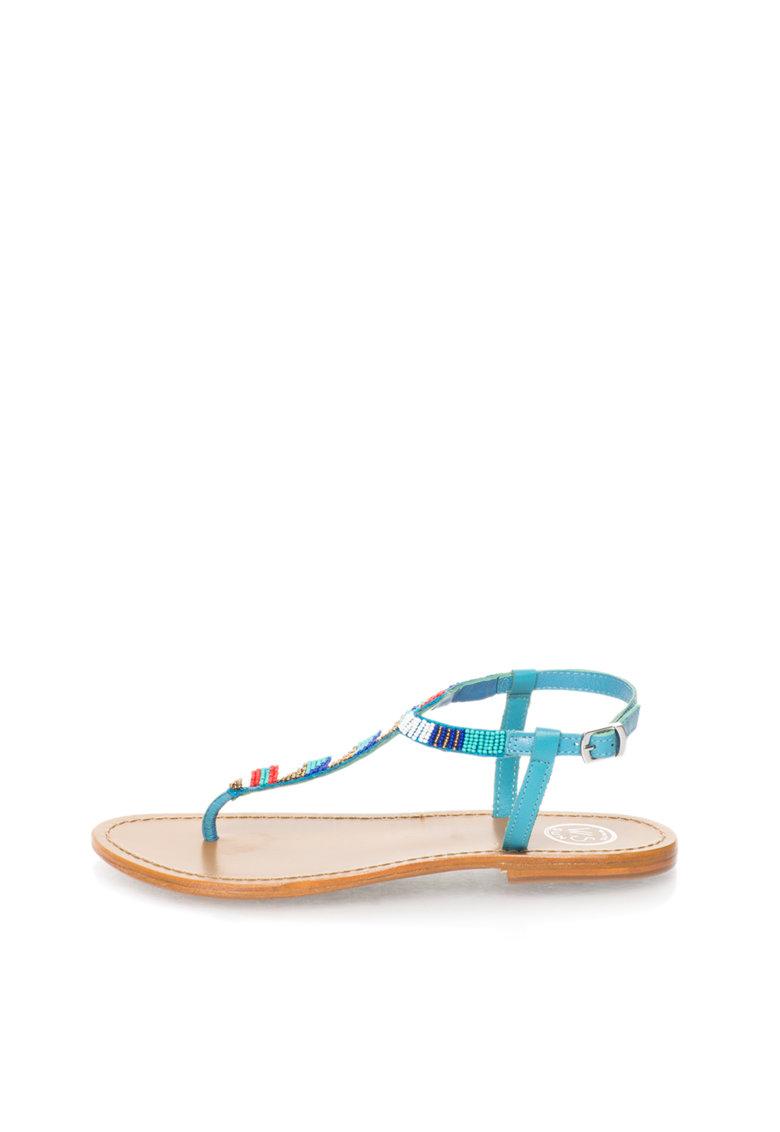 WHITE SUN Sandale in nuante de albastru cu bareta in T si margele