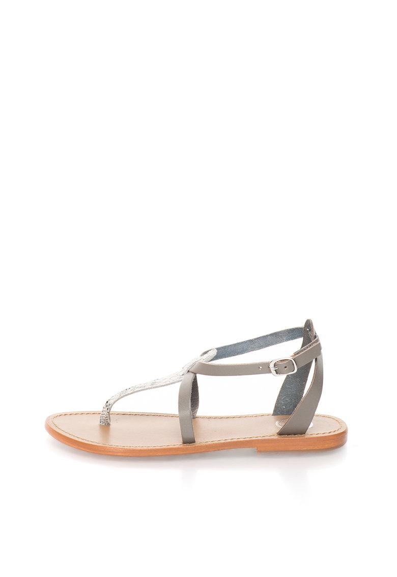 Sandale gri de piele cu bareta in T si detaliu cu model sarpe