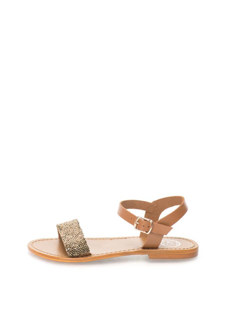 WHITE SUN Sandale maro cu strasuri
