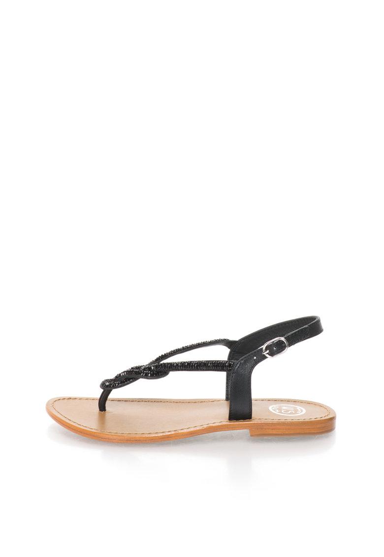 WHITE SUN Sandale negre cu bareta separatoare
