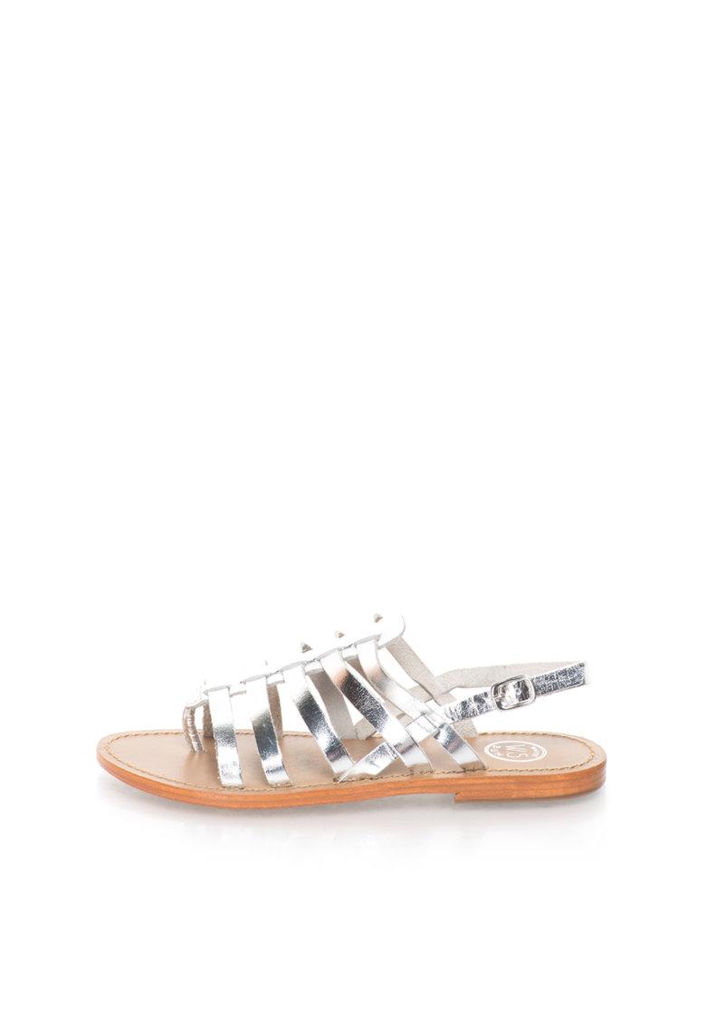 WHITE SUN Sandale argintii de piele