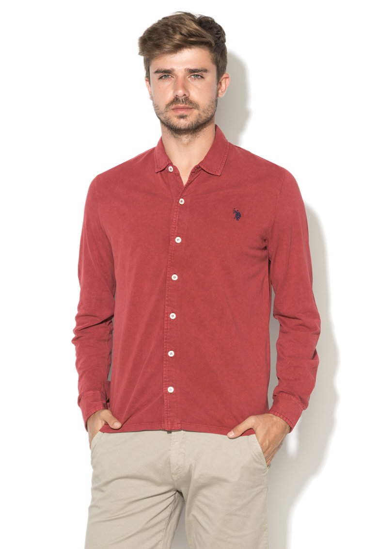 US Polo Assn Camasa Bordeaux din pique James