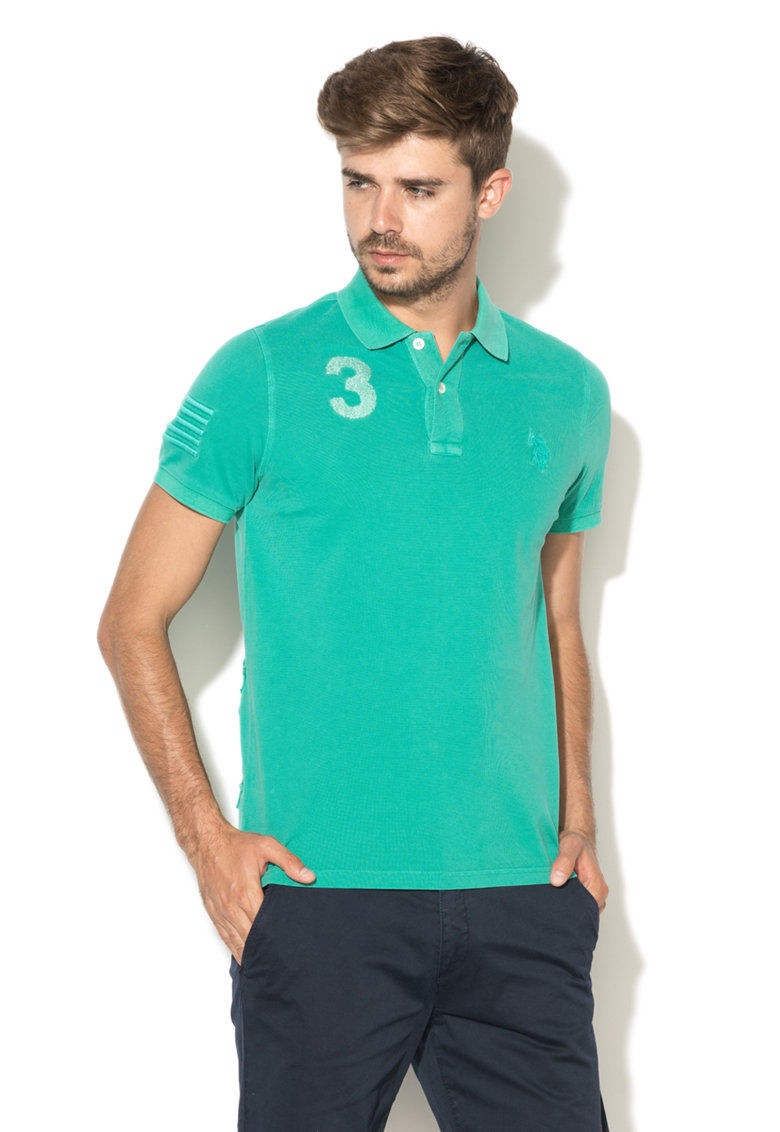 US Polo Assn Tricou polo verde englez stins din pique Player