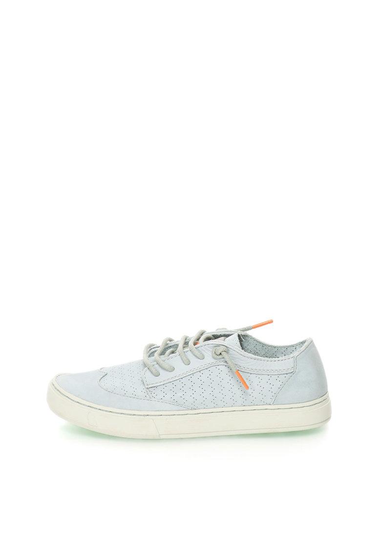 Pantofi casual albastru pastel de piele cu perforatii Yukai