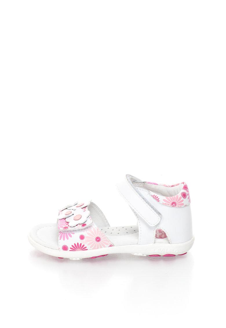 Lea Lelo Sandale de piele cu model floral si aplicatii