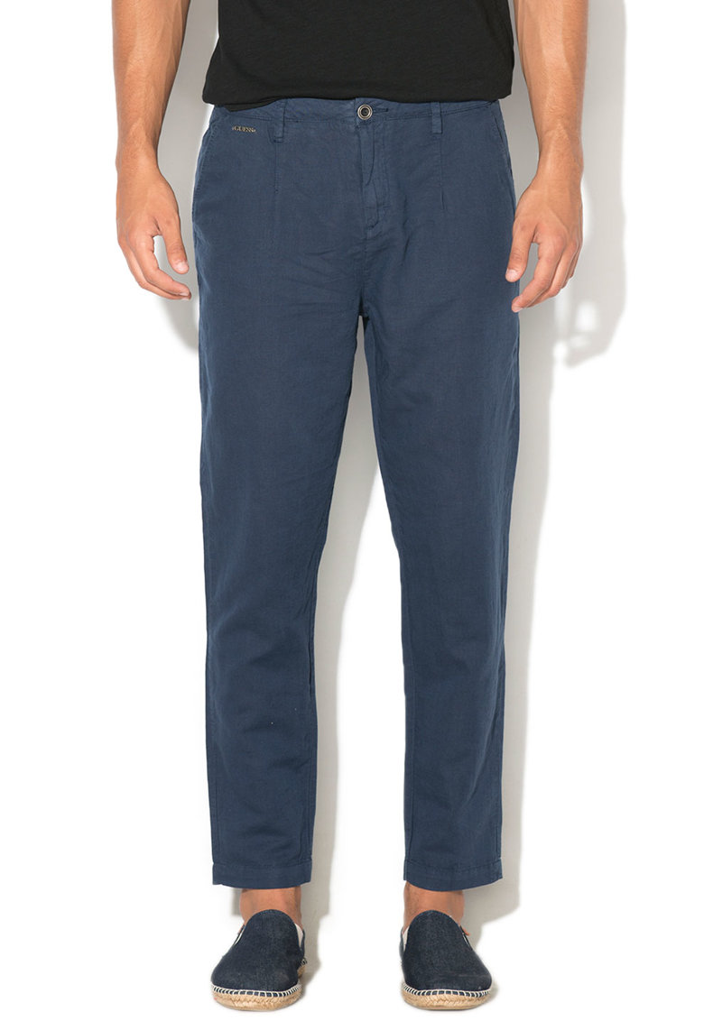 Pantaloni chino din amestec de in