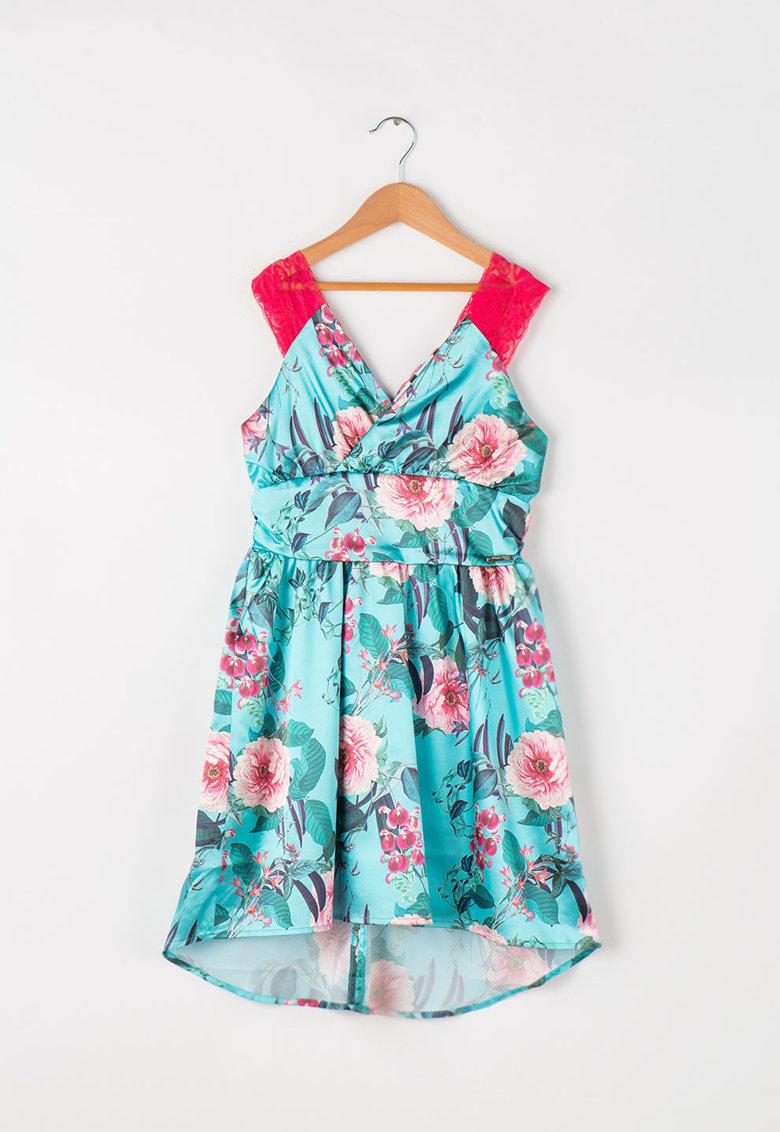GUESS JEANS Rochie de satin cu imprimeu floral si garnituri de dantela