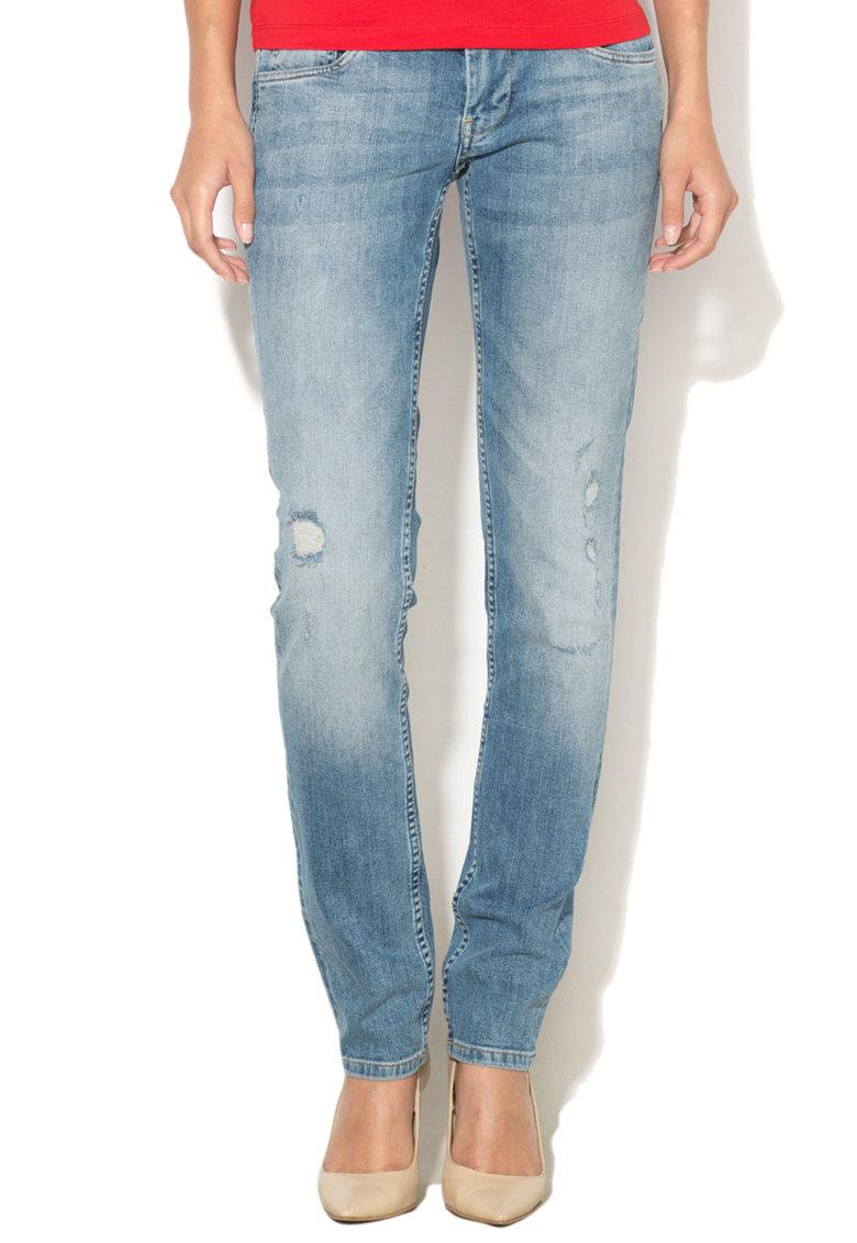 Blugi slim fit cu talie joasa si aspect deteriorat Vera de la Pepe Jeans London
