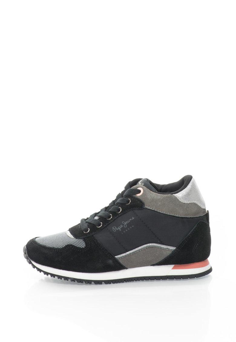 Pepe Jeans Pantofi sport inalti cu garnituri de piele intoarsa Sydney