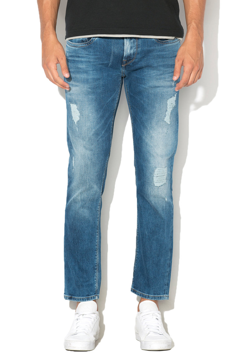 Blugi slim fit cu aspect deteriorat Hatch de la Pepe Jeans London