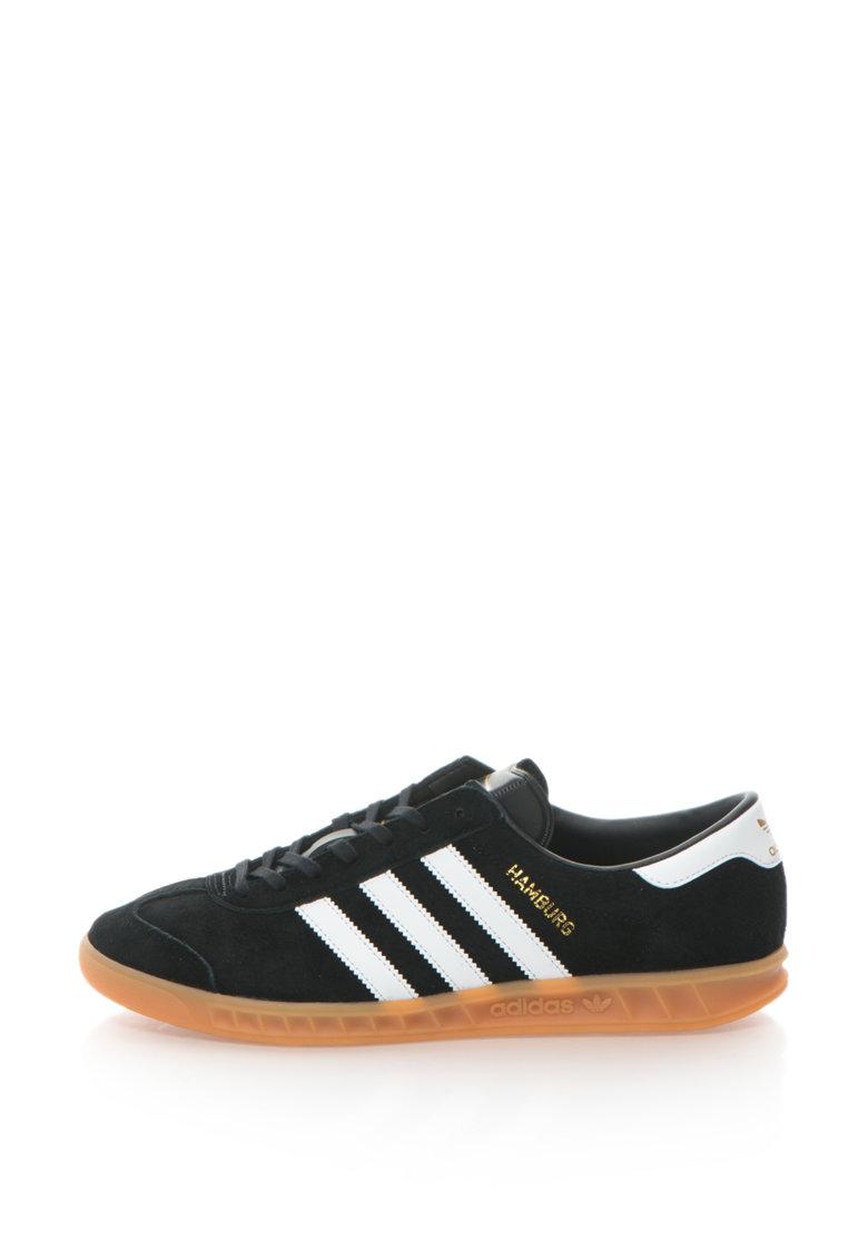 adidas Originals – Pantofi sport cu dungi emblematice Hamburg – Negru/Alb