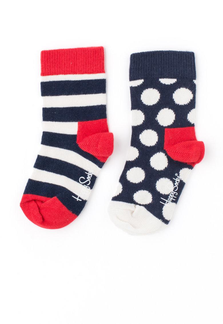 Happy Socks Set de sosete cu dungi si buline – 2 perechi
