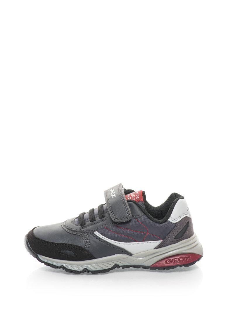 Geox Pantofi sport cu sireturi elastice si banda velcro Bernie