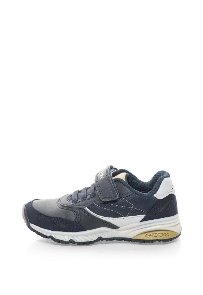 Pantofi sport cu sireturi elastice si banda velcro Bernie de la Geox
