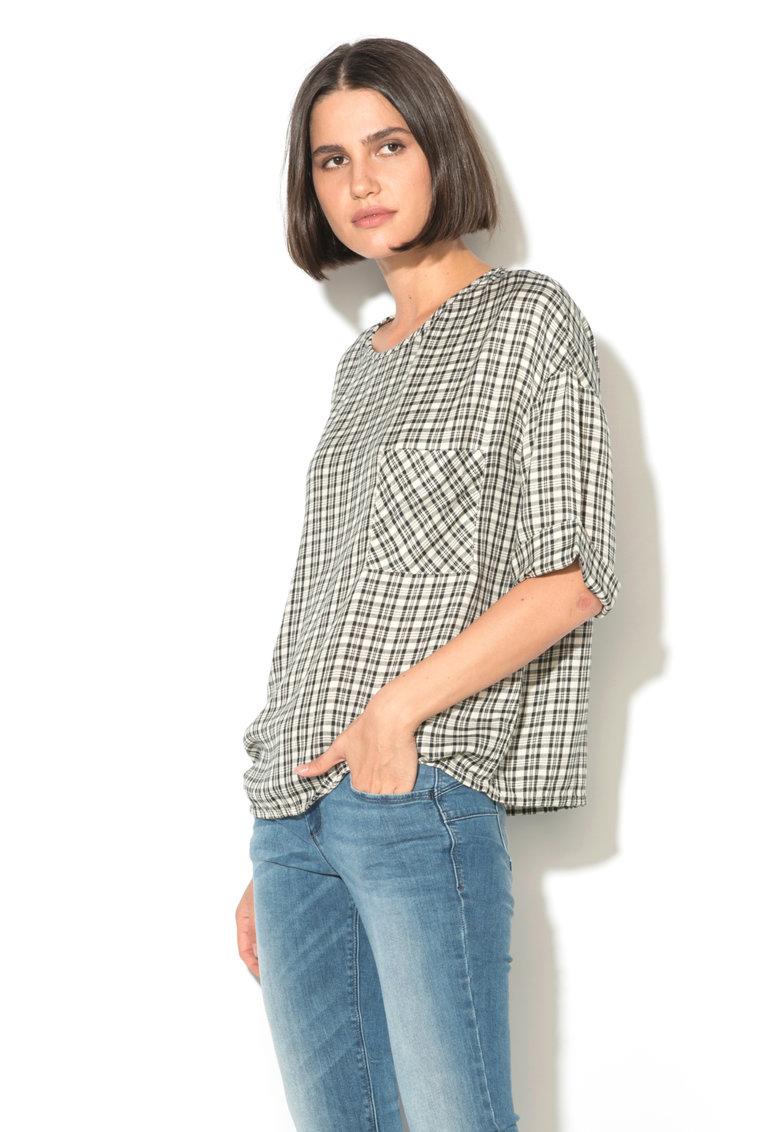 Bluza din amestec de modal in carouri