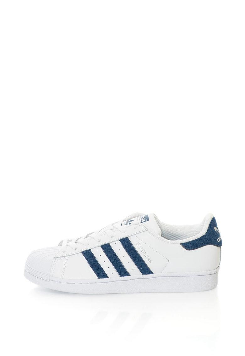 Adidas ORIGINALS Pantofi sport cu piele Superstar – Alb/Bleumarin