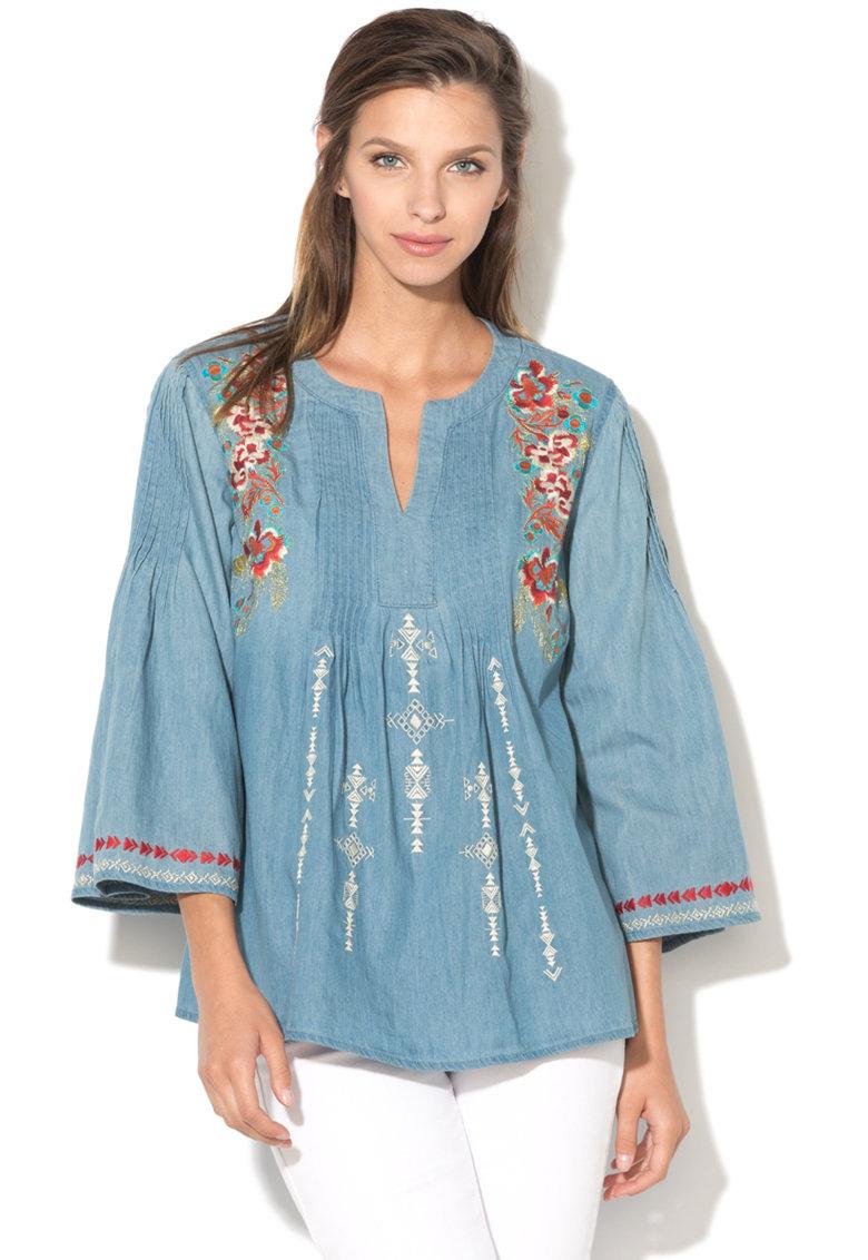 DESIGUAL Bluza din chambray cu flori brodate Leslie