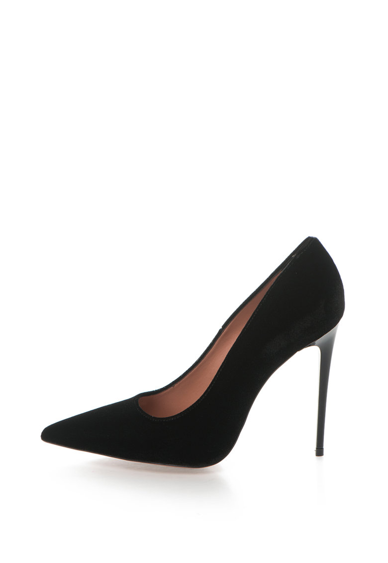 Pantofi cu toc inalt si varf ascutit Denise de la Zee Lane – DENISE-510-VELLUTO-NERO-ZNE