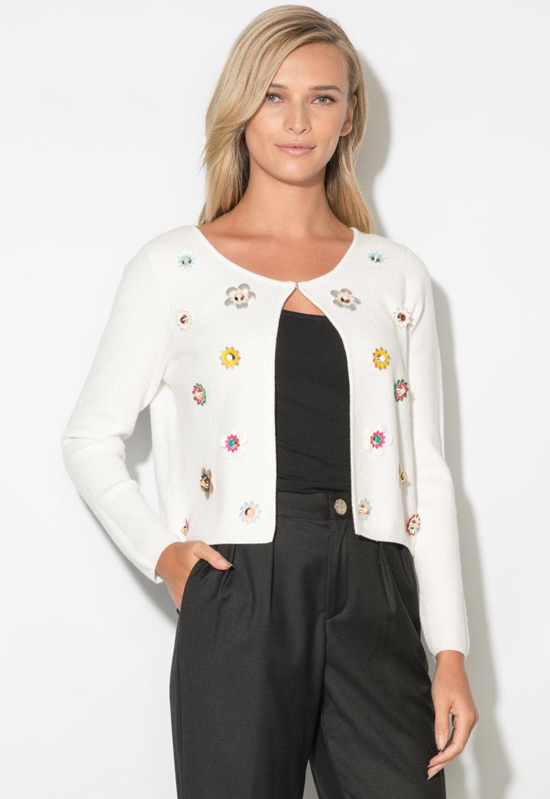 Zee Lane Cardigan din tricot fin cu aplicatii florale