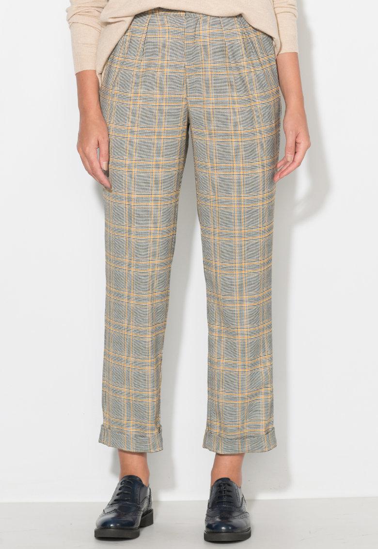 Pantaloni conici - in carouri - cu terminatii rasucite