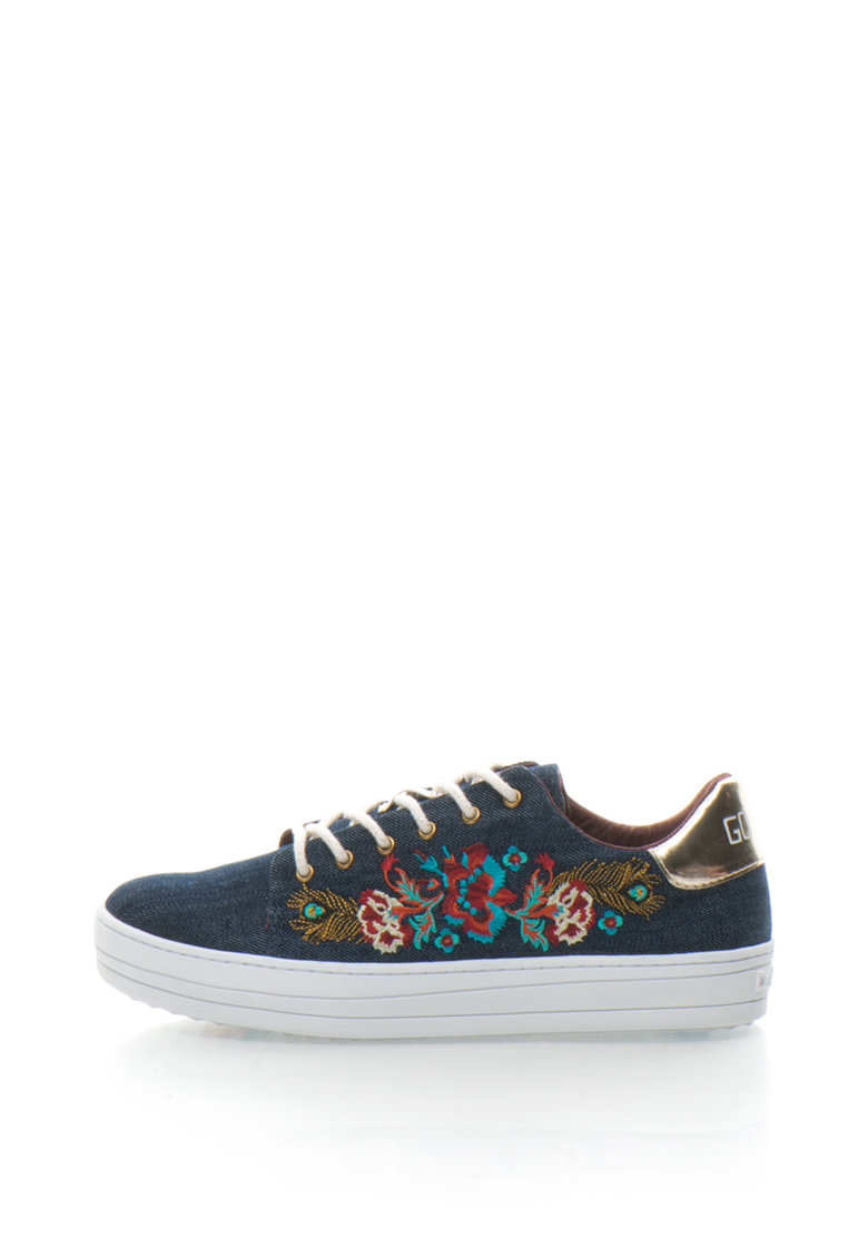 DESIGUAL Pantofi sport flatform din denim cu broderie Funky