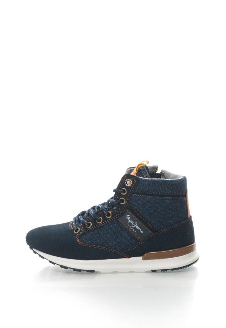 Pepe Jeans Pantofi sport mid-high cu insertii de piele intoarsa si denim Boston Denim