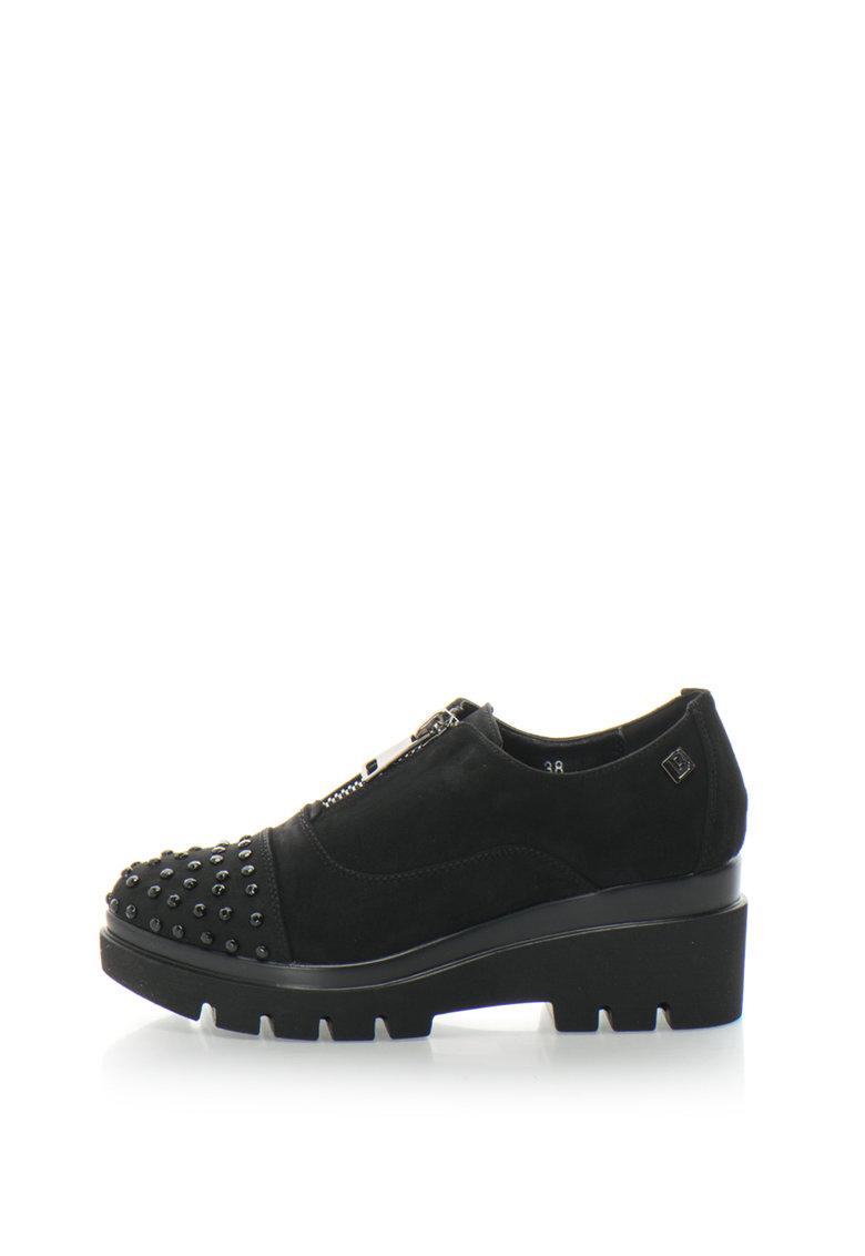 Laura Biagiotti Pantofi wedge casual de piele intoarsa sintetica cu margele