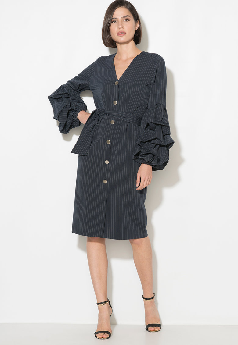 Zee Lane Collection Rochie tip palton cu maneci drapate
