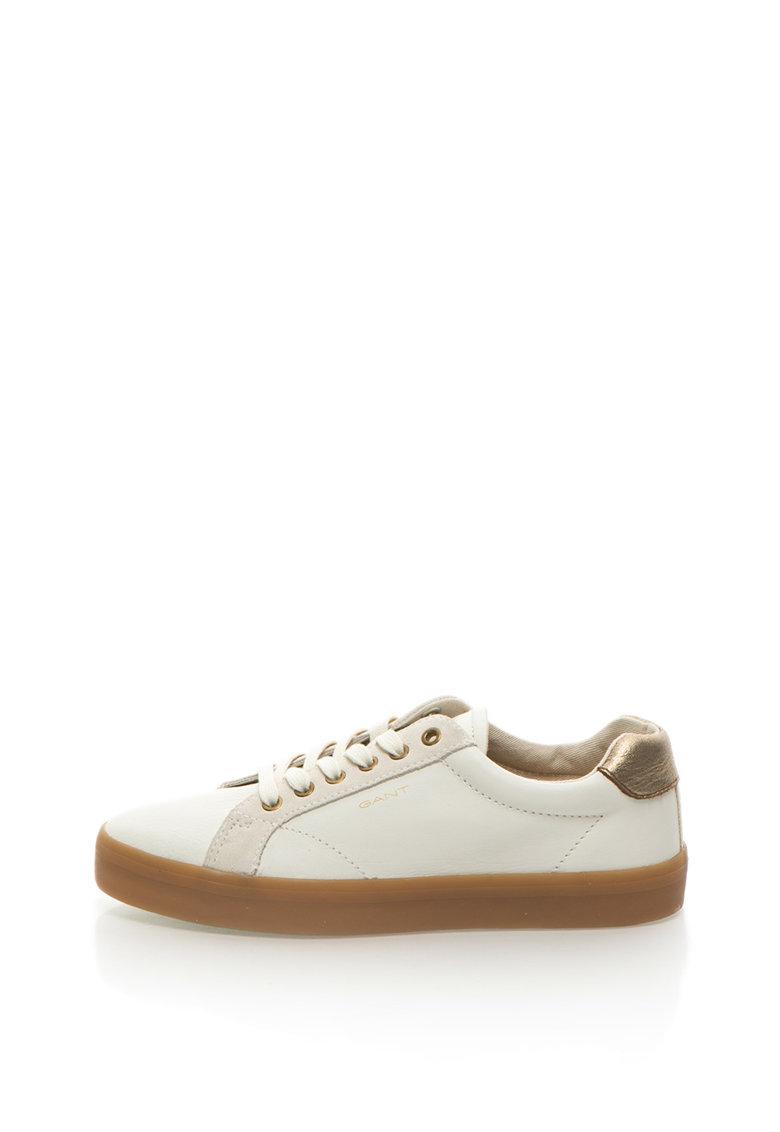 Pantofi sport de piele cu logo Mary de la Gant 15531008-G21-CREAM
